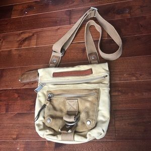 Fossil Crossbody Canvas and Suede Leather